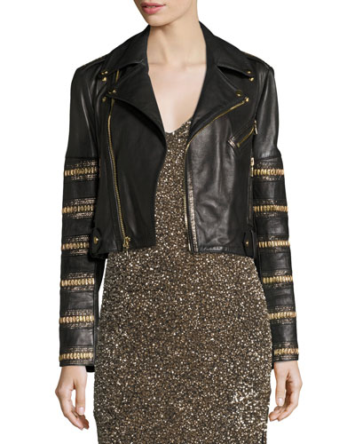 Cody Embellished Cropped Leather Jacket