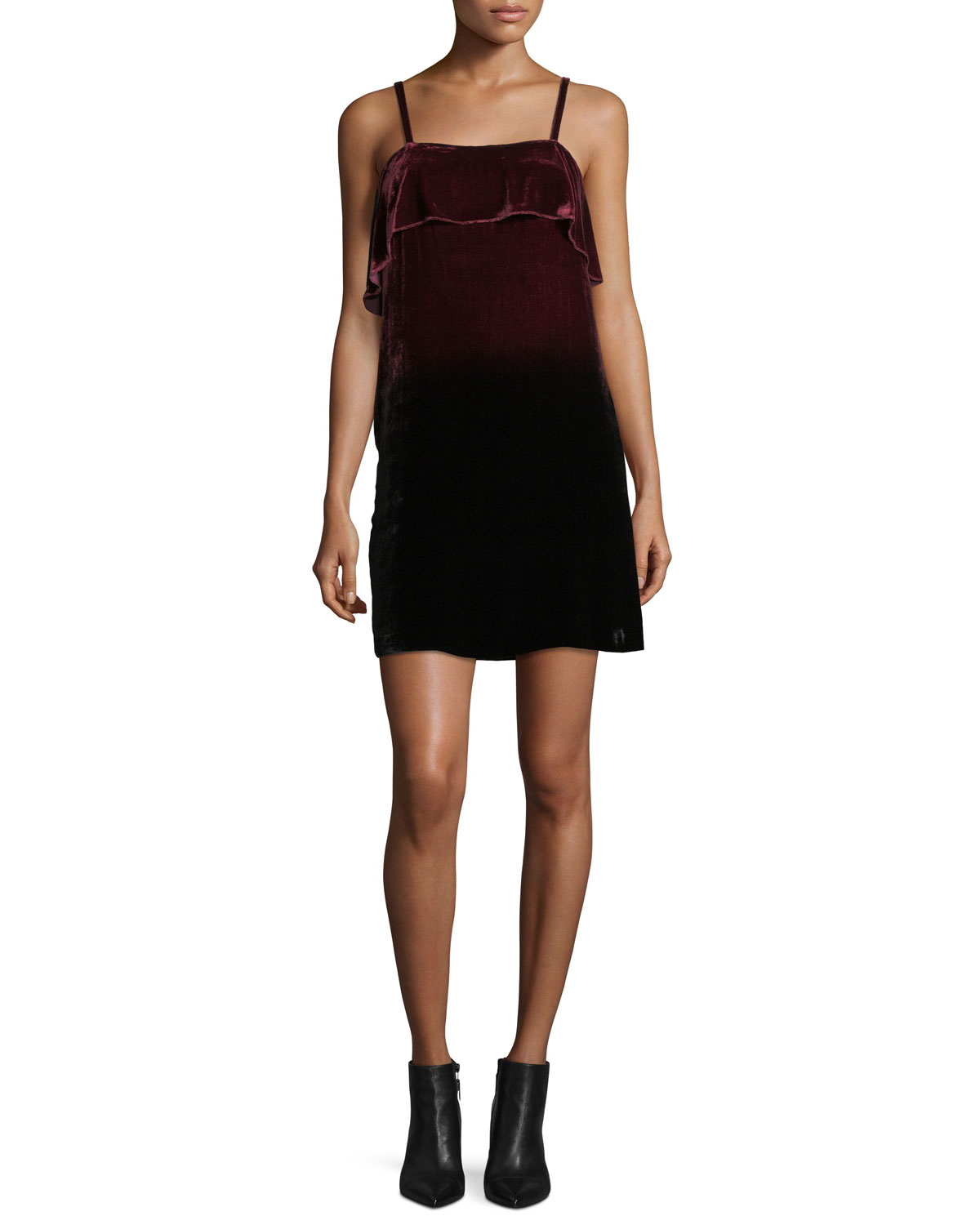 Bess Ombre Velvet Sleeveless Slip Dress