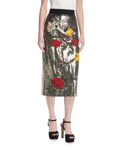 Ella Embellished Sequin Straight Midi Skirt