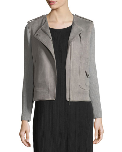 Faux-Suede Moto Jacket w/ Contrast Sleeves