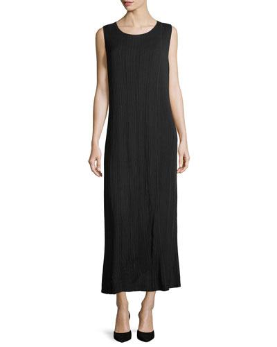 Vertical Lines Faux-Wrap Knit Maxi Dress