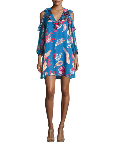 Giovanna Ruffled Cold-Shoulder Floral-Print Cocktail Dress