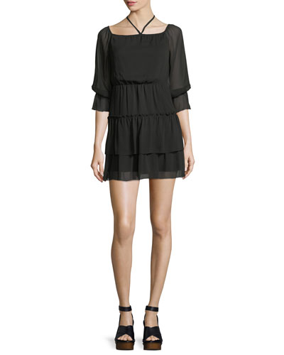 Waylon Boat-Neck Blouson-Sleeve Dress