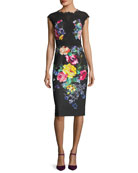 Floral-Stretch Cap-Sleeve Cocktail Dress w/ Lace