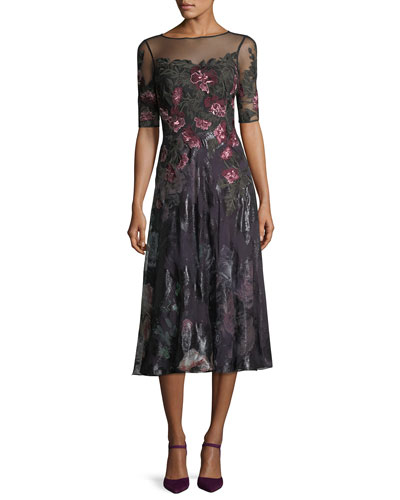 Floral-Embroidered 1/2-Sleeve Tulle Cocktail Dress