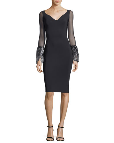Themis Illusion Sleeves Sequin-Cuffs Cocktail Dress