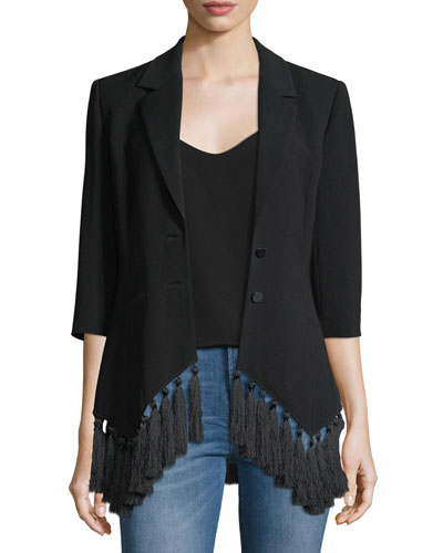 Violetta Two-Button Crepe Blazer w/ Tassel Hem