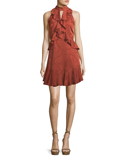 Maxime Satin Burnout Sleeveless Mini Dress