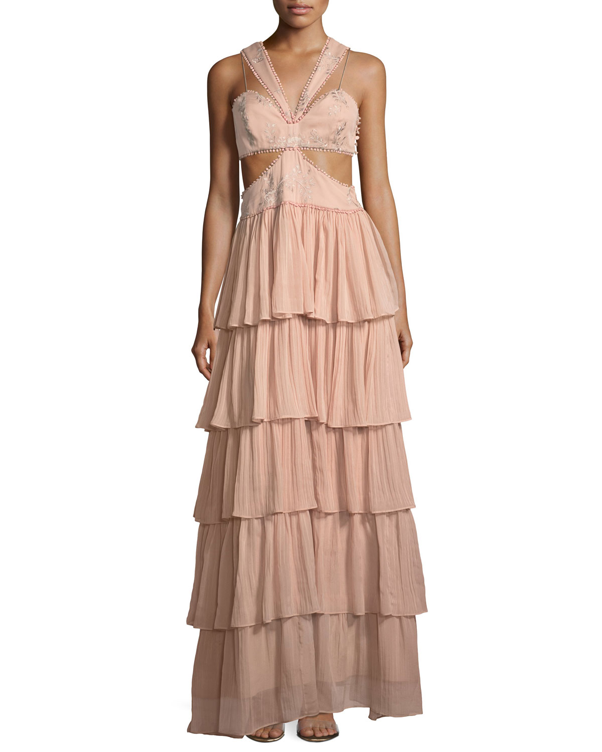 Leda Sleeveless Cutout-Waist Tiered Silk Evening Gown