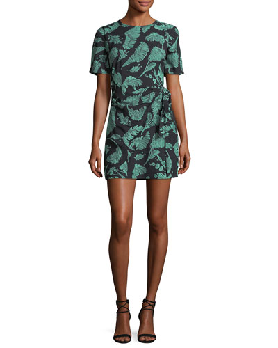 Bia Crewneck Tie-Side Palm-Print Mini Dress
