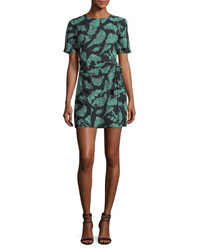 Bia Crewneck Tie-Side Palm-Print Mini Dress