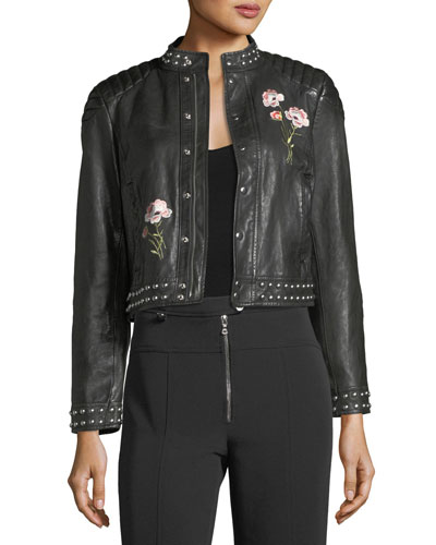 Kinu Leather Moto Jacket w/ Embroidery & Studded Trim