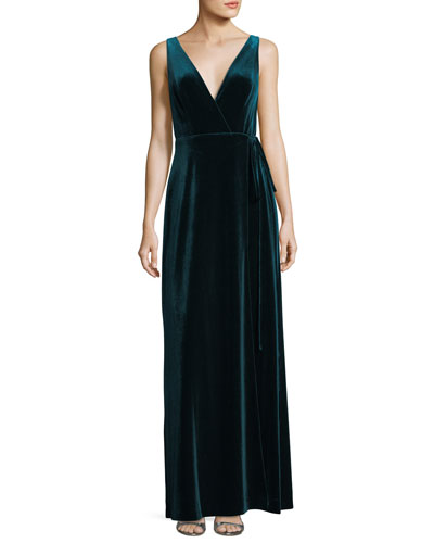 Velvet V-Neck Wrap Evening Gown