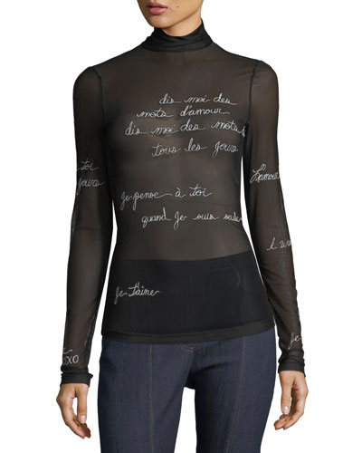 Bisous Embroidered Mesh Turtleneck Top