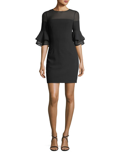 Flounce-Sleeves Crepe Chiffon Sheath Cocktail Dress