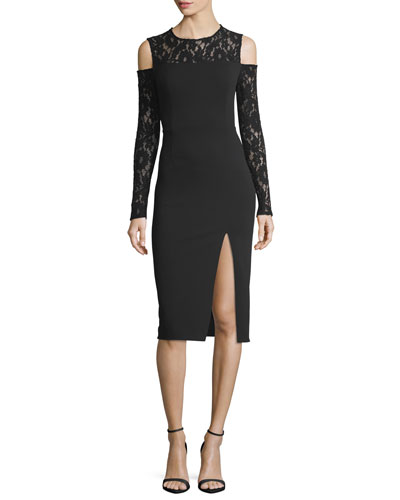 Crepe Lace Cold-Shoulder Long-Sleeve Cocktail Dress