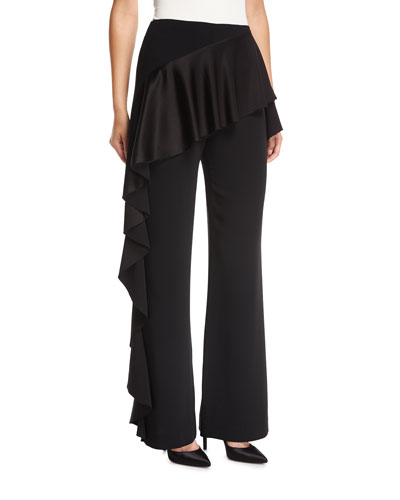 Vykan High-Rise Wide-Leg Pants w/ Ruffled Trim