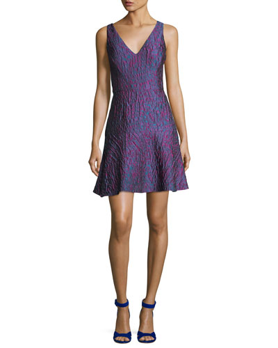 V-Neck Sleeveless Jacquard Cocktail Dress