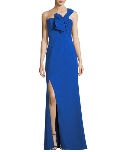 One-Shoulder Bow Crepe Evening Gown