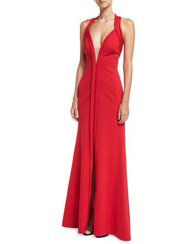 Deep V-Neck Sleeveless Mesh-Insert Halter Evening Gown