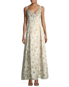 Sweetheart Sleeveless Jacquard Beaded Evening Gown