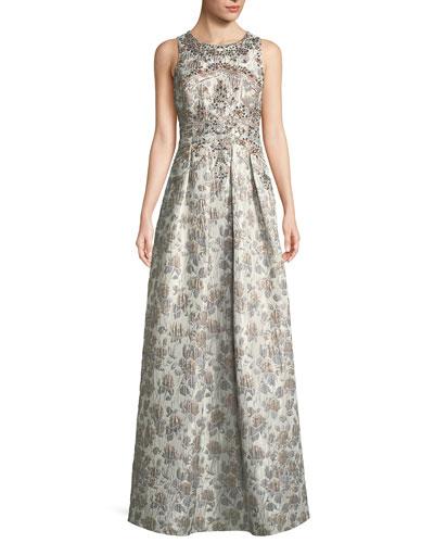 Sleeveless Metallic Brocade Embellished Evening Gown