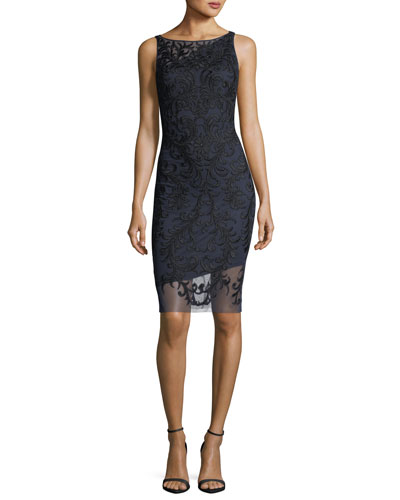 Sleeveless Beaded Embroidered Sheath Cocktail Dress