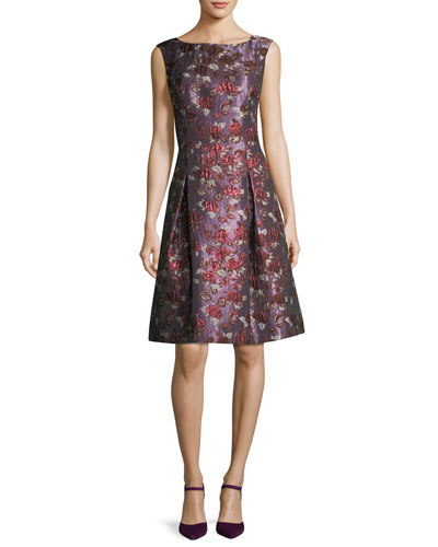 Bateau-Neck Sleeveless Fit-and-Flare Cocktail Dress
