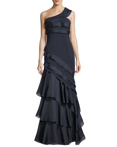 Asymmetric One-Shoulder Tiered Evening Gown