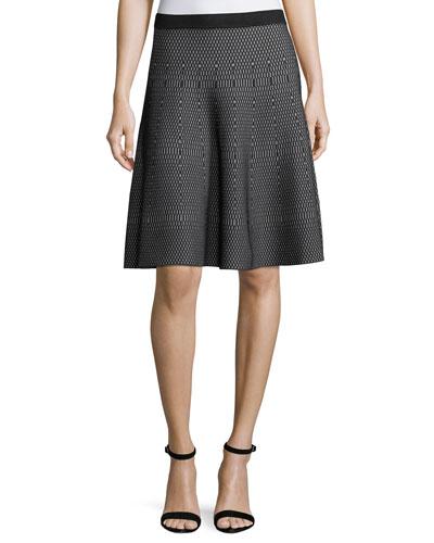 Geometric-Print Flare Skirt