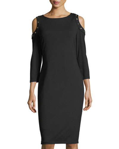 Cold-Shoulder Ponté Midi Dress