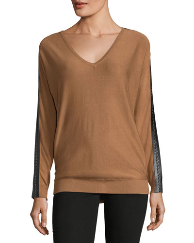 Lace-Trim Dolman-Sleeve Sweater