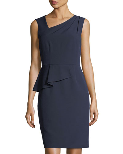 Asymmetric-Neck Peplum Crepe Dress
