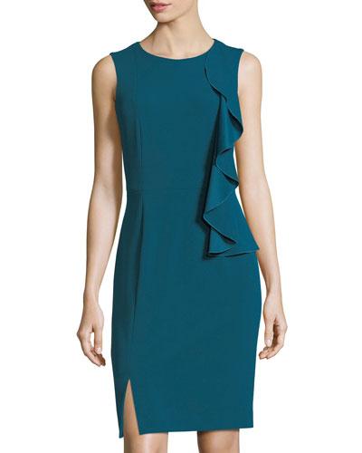 Asymmetric-Ruffle Sleeveless Scuba Dress