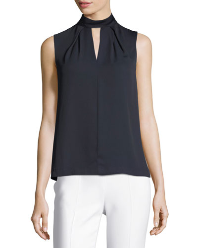 Choker-Neck Sleeveless Crepe Blouse