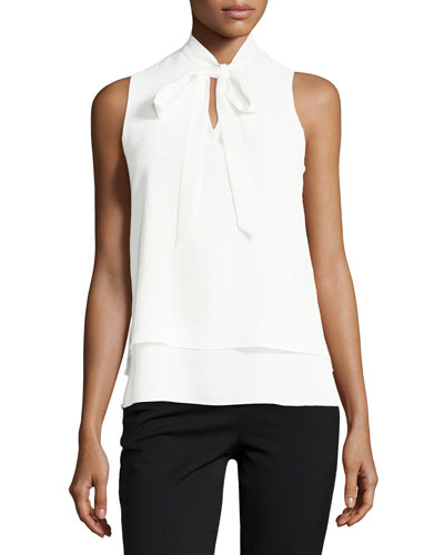 Tie-Neck Sleeveless Crinkled-Crepe Blouse