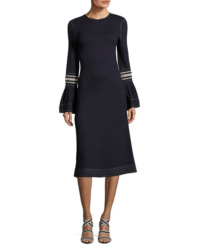 Jewel-Neckline Trumpet Sleeves Embroidered Jersey Dress