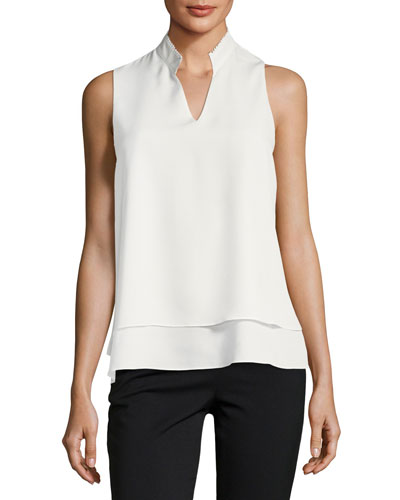 Split-Neck Sleeveless Crepe de Chine Blouse