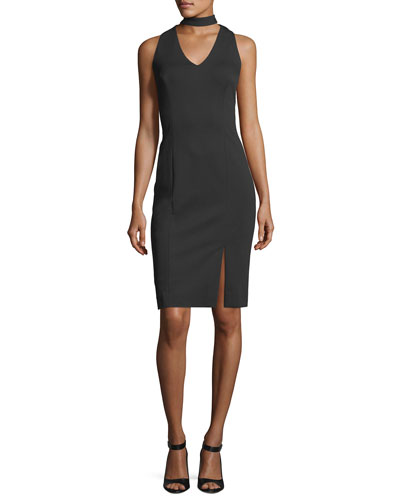 Choker-Neck Ponté Sheath Dress