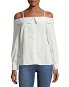Striped Poplin Off-the-Shoulder Shirt