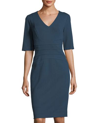 V-Neck Ponté Sheath Dress