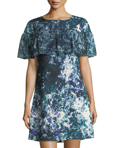 Floral-Print Ruffle Crepe de Chine Dress