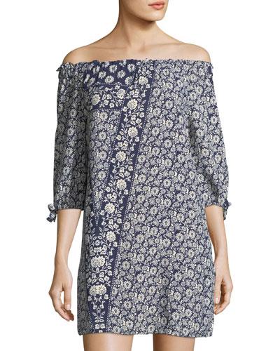 Floral-Print Off-the-Shoulder Minidress
