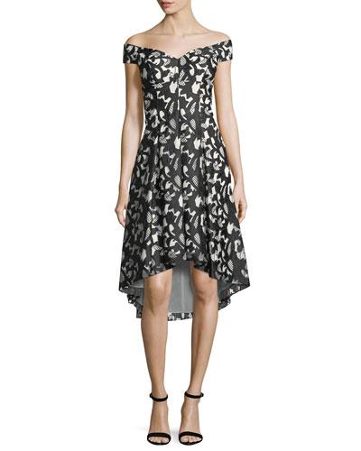 Off-the-Shoulder Embroidered Cocktail Dress