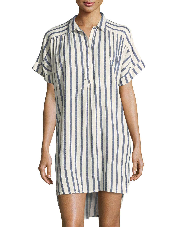 Sailor Striped Dolman-Sleeve Shirtdress