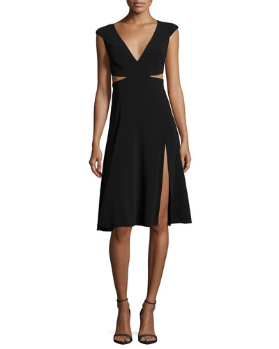 Cutout Cap-Sleeve V-Neck Crepe Dress
