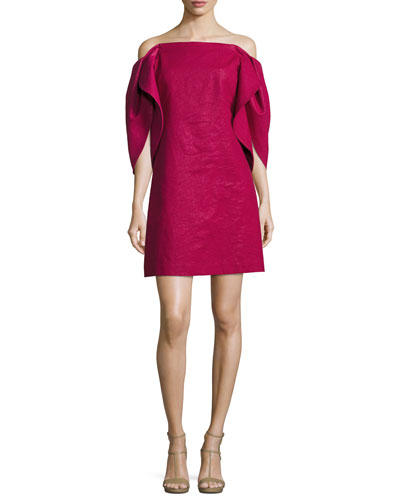 Off-the-Shoulder Structured-Sleeve A-Line Cocktail Dress