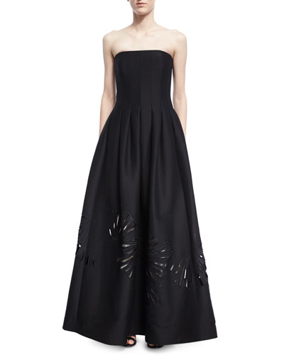 Strapless Seamed Structured Ball Gown