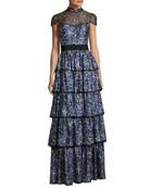 McKee Mock-Neck Tiered Printed Satin Maxi Dress w/ Lace