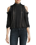 Glinda High-Neck Cold-Shoulder Lace Blouse